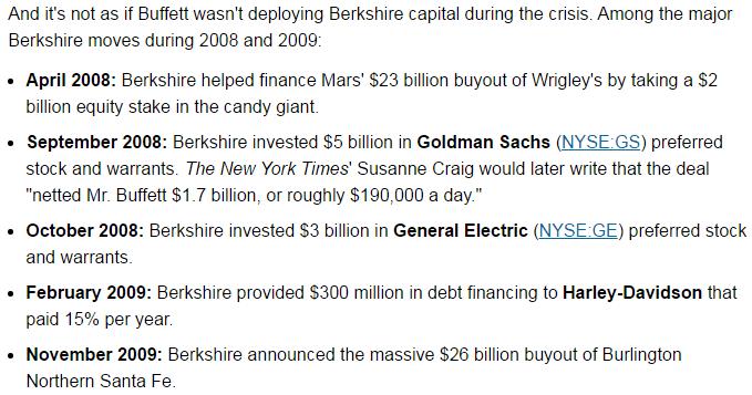 buffett 2008 2009 crisis investment